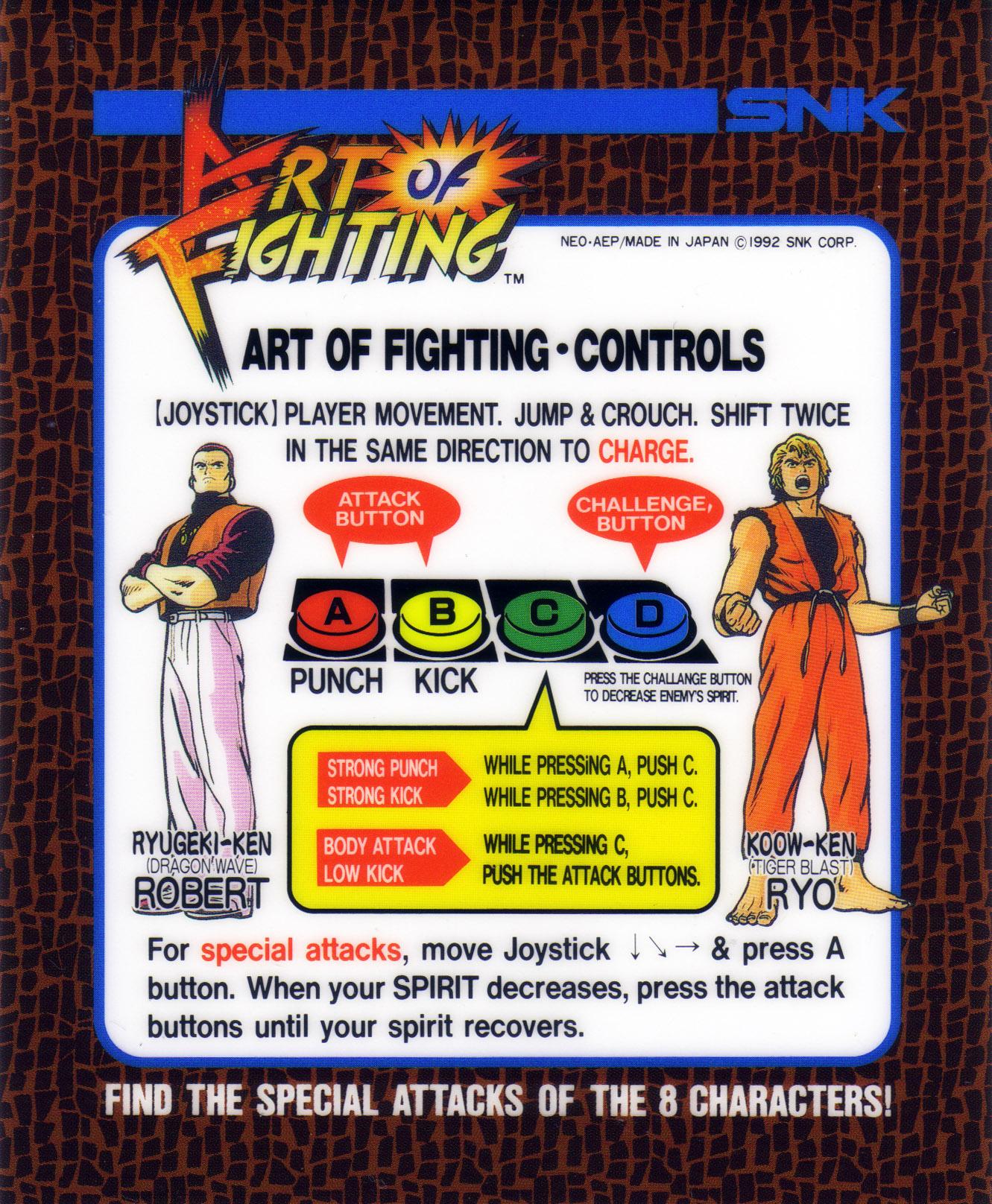 Art Of Fighting Ryuko No Ken Neo Geo Aes Mvs